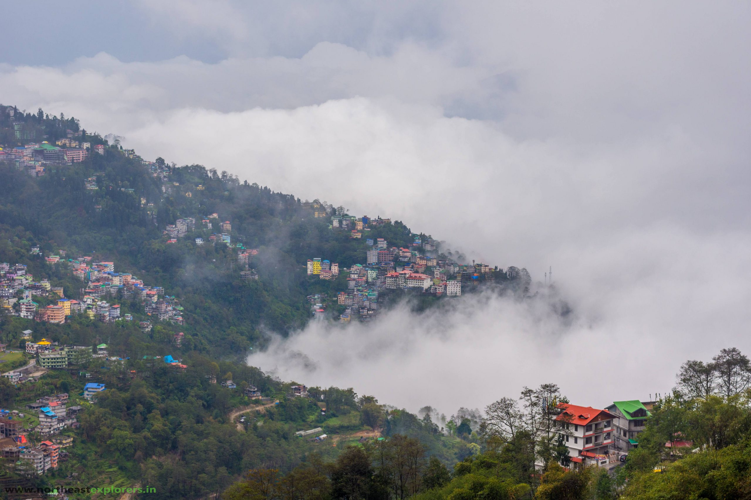 Beautiful Gangtok under a beautiful cloud-cover