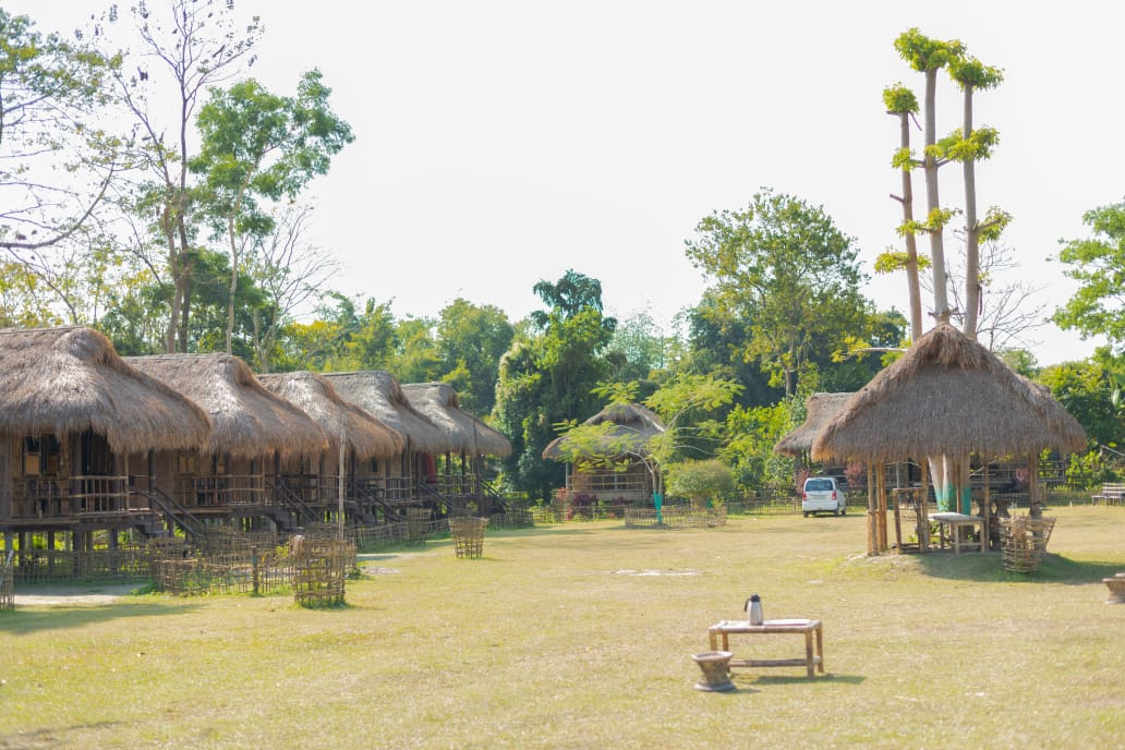 bamboo cottages in Majuli